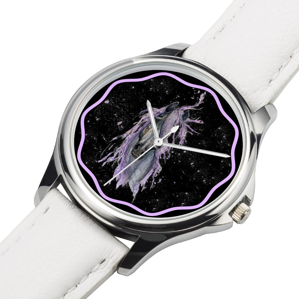 Mystix - White Leather Horse Watch