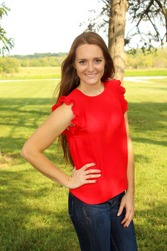 Red Ruffle Sleeve Blouse - Simply L Boutique