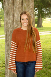 Striped Sleeve Sweater - Simply L Boutique