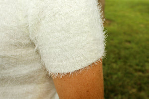 Cream Fuzzy Sweater - Simply L Boutique