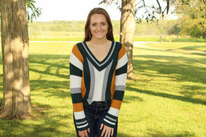 Green Sporty Striped Sweater - Simply L Boutique