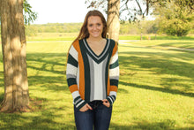 Load image into Gallery viewer, Green Sporty Striped Sweater - Simply L Boutique