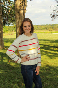 Striped Fuzzy Sweater - Simply L Boutique