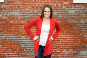 Burnt Orange Open Cardigan (Plus) - Simply L Boutique