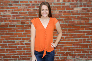 Pumpkin Front Button Down Blouse - Simply L Boutique