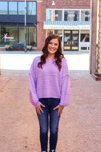 Lavender Waffle Sweater - Simply L Boutique