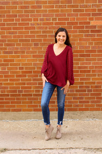 Burgundy Detail Sleeve Top - Simply L Boutique