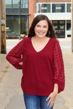 Load image into Gallery viewer, Burgundy Detail Sleeve Top - Simply L Boutique