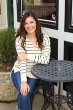 Load image into Gallery viewer, Getting Cozy Ivory Stripe Sweater - Simply L Boutique