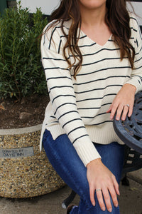Getting Cozy Ivory Stripe Sweater - Simply L Boutique