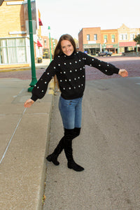 Polka Dot Bubble Sleeve Sweater - Simply L Boutique