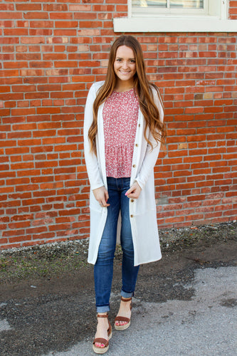 White Button Down Cardigan - Simply L Boutique
