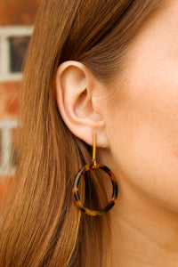 Drop Circle Tortoise Earrings - Simply L Boutique