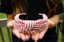 Load image into Gallery viewer, Red Striped Top Knot Headband