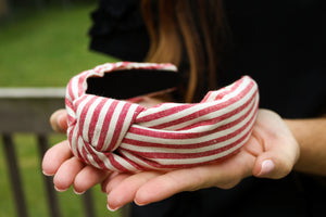 Red Striped Top Knot Headband