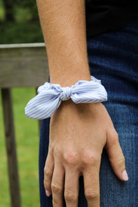Blue Striped Scrunchie