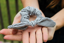 Load image into Gallery viewer, Black Striped Scrunchie