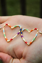 Load image into Gallery viewer, Rainbow Striped Heart Earrings