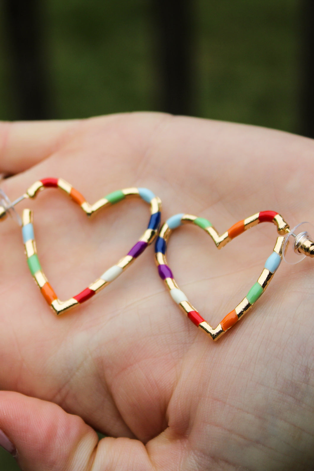 Rainbow Striped Heart Earrings