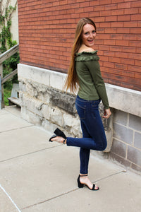 Olive Off The Shoulder Sweater - Simply L Boutique
