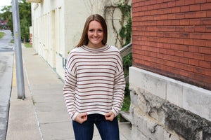 Rust Striped Sweater - Simply L Boutique