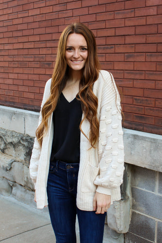 Cream Detailed Sleeve Cardigan