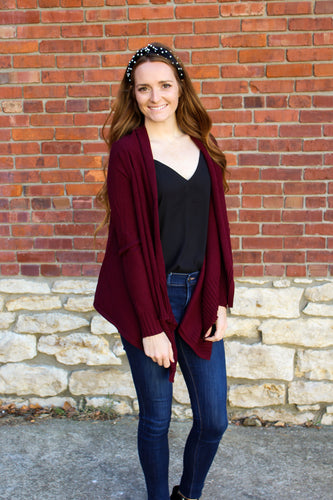 Draped Front Everyday Cardigan- Wine