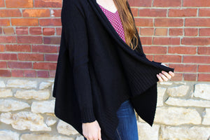 Draped Front Everyday Cardigan- Black