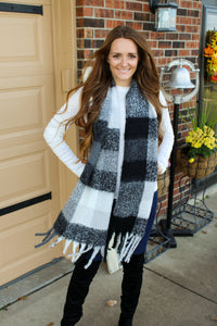 Black & White Gingham Scarf