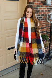 Mustard & Red Gingham Scarf
