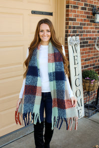 Navy & Salmon Gingham Scarf