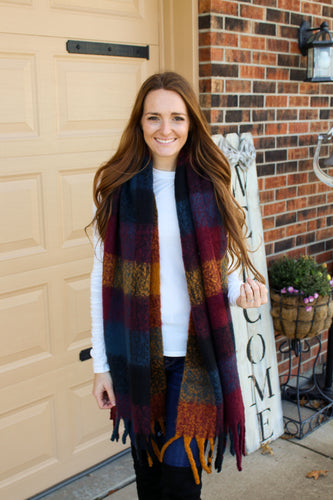Burgundy & Navy Gingham Scarf