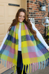 Yellow & Pink Gingham Scarf