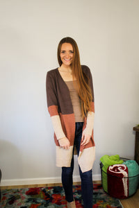 Rae Colorblock Long Cardigan