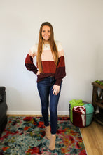 Load image into Gallery viewer, Rose Colorblock Sweater