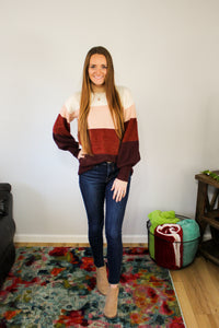 Rose Colorblock Sweater
