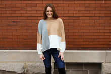 Load image into Gallery viewer, Grey Multi Colorblock Sweater