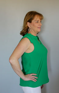 Green Detail Sleeveless Top - Simply L Boutique