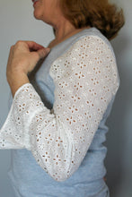 Load image into Gallery viewer, Light Blue Eyelet Sleeve Sweater - Simply L Boutique