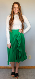 Kelly Green Pleated Skirt - Simply L Boutique