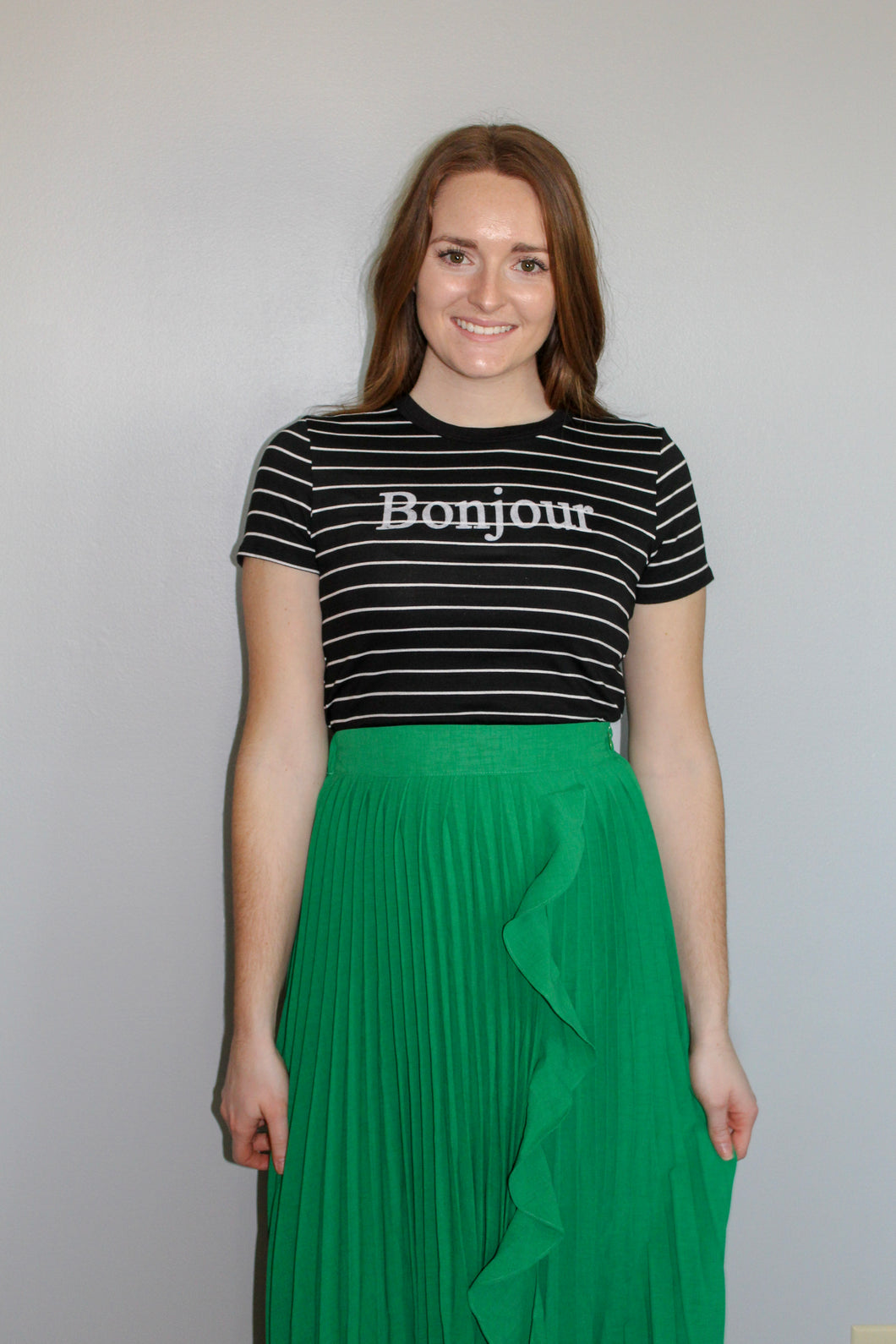 Striped Bonjour Tee - Simply L Boutique