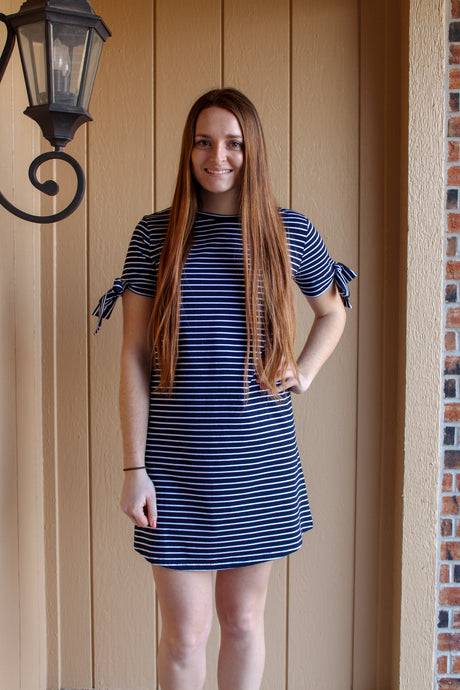 Navy Striped Shift Dress - Simply L Boutique