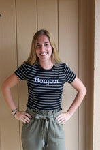Load image into Gallery viewer, Striped Bonjour Tee - Simply L Boutique