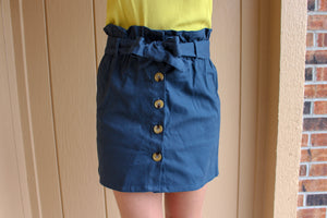 Navy Button Skirt - Simply L Boutique