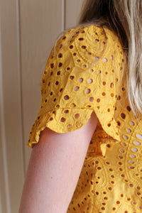 Buttoned Eyelet Top (Mustard) - Simply L Boutique