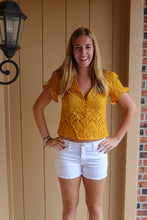 Load image into Gallery viewer, Buttoned Eyelet Top (Mustard) - Simply L Boutique