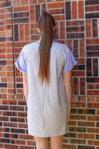 Striped Back Shift Dress (Grey) - Simply L Boutique