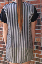 Load image into Gallery viewer, Striped Back Shift Dress (Black) - Simply L Boutique