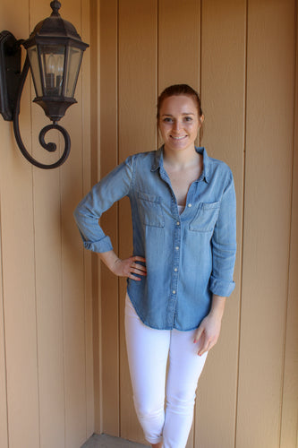 Chambray Button Down Top - Simply L Boutique