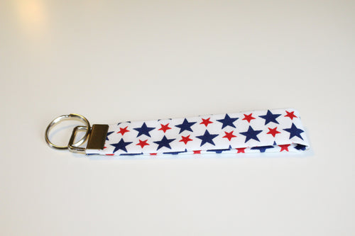 Red, White & Blue Stars Key Wristlet - Simply L Boutique